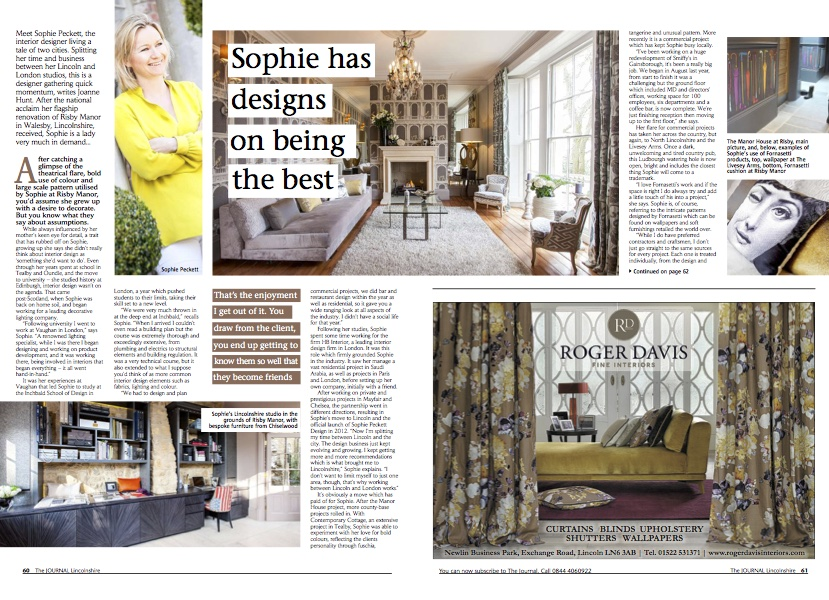 Sophie Peckett Design featured in The Journal, Lincolnshire