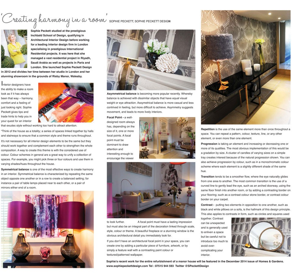 All about home, article, featuring Sophie Peckett Design
